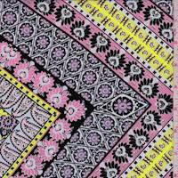 *3 YD PC--Neon Pink/Chartreuse Tile Peachskin