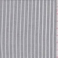 *4 1/2 YD PC--Heather Charcoal Stripe Linen Look