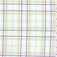 *1 7/8 YD PC--White/Yellow Plaid Fine Line Twill
