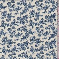 *3 3/8 YD PC--Cream/Wedgewood Floral Vine Cotton Flannel