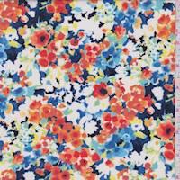 *4 1/8 YD PC--Dark Blue Multi Sponge Floral Activewear/Swimwear