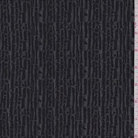 *2 5/8 YD-PC--Black/Stone Abstract Stripe Double Knit