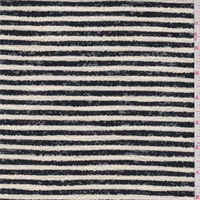 *1 1/8 YD PC--Cream/Black Stripe Boucle Suiting