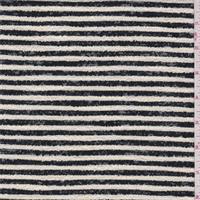 *1 7/8 YD PC--Cream/Black Stripe Boucle Suiting