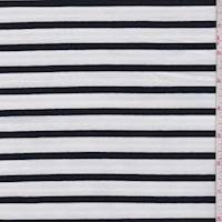 *1 YD PC--White/Black Stripe French Terry Knit
