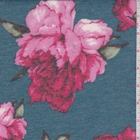 *4 YD PC--Heather Blue/Fuchsia Peony Double Brushed French Terry Knit