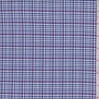 Blue/White/Red Plaid Cotton Shirting