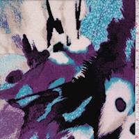 Purple/Aqua/Black Abstract Slinky Knit