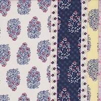 Butter/Navy Wallpaper Stripe Chiffon