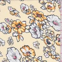 Pale Yellow Dogwood Floral Chiffon
