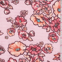 Pink/Peach Dogwood Floral Chiffon