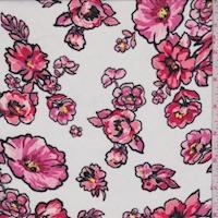 White/Deep Pink Dogwood Floral Chiffon