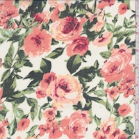 White/Bright Coral Rose Garden Chiffon