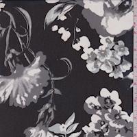 Black/White/Grey Floral Pop Chiffon