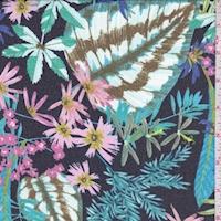 Dark Navy Multi Tropical Floral Chiffon