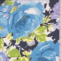 Navy/Aqua/Lilac Brushed Floral Chiffon