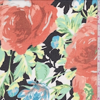Black/Aqua/Apricot Brushed Floral Chiffon