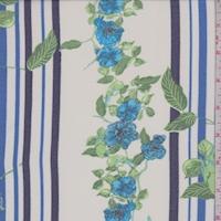 White/Navy/Aqua Floral Stripe Chiffon