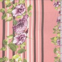 Salmon/Burgundy/Brown Floral Stripe Chiffon