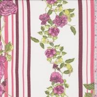 Ivory/Maroon/Pink Floral Stripe Chiffon