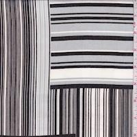 Grey/Black/White Stripe Block Chiffon