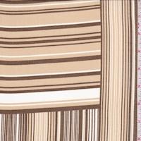 Tan/Brown/White Stripe Block Chiffon