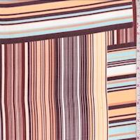 Peach/Plum/Blue Stripe Block Chiffon