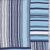 Navy/Blue/White Stripe Block Chiffon