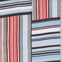 Pale Blue/Brown/Orange Stripe Block Chiffon