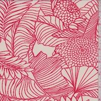 White/Red Sketch Floral Chiffon