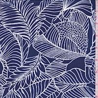 Dark Blue/White Sketch Floral Chiffon