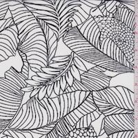White/Black Sketch Floral Chiffon