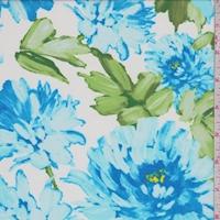 Bright Blue/White Floral Mum Chiffon