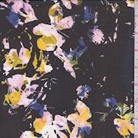 Black Multi Splatter Floral Chiffon