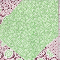 Grass Green/Maroon Moroccan Patch Georgette