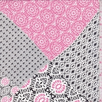 Black/Hot Pink Moroccan Patch Georgette