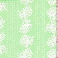 Pastel Green Floral/Dot Stripe Chiffon