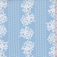 Cloudy Blue Floral/Dot Stripe Chiffon