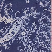 Deep Blue/White Paisley Chiffon