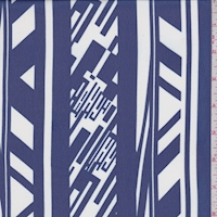 Ink Blue/White Deco Stripe Chiffon
