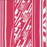 Red/White Deco Stripe Chiffon