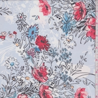 Periwinkle Sketch Floral Bouquet Chiffon