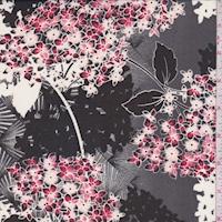 Black/Garnet Hydrangea Chiffon