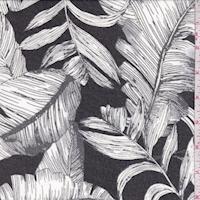 Black/Grey/White Tropical Leaf Chiffon
