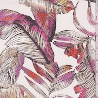 White/Pink/Taupe Tropical Leaf Chiffon
