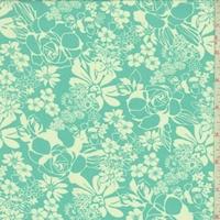 Dark Turquoise/White Floral Toss Chiffon