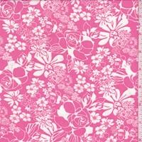 Bright Raspberry/White Floral Toss Chiffon