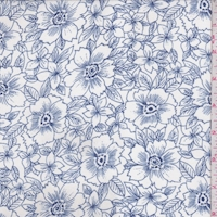 White/Royal Floral Georgette
