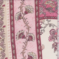 Berry/Pink/Cream Fan Flower Georgette