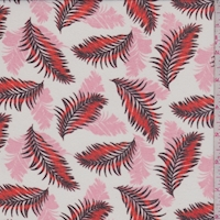 White/Fire/Pink Tropical Leaf Georgette